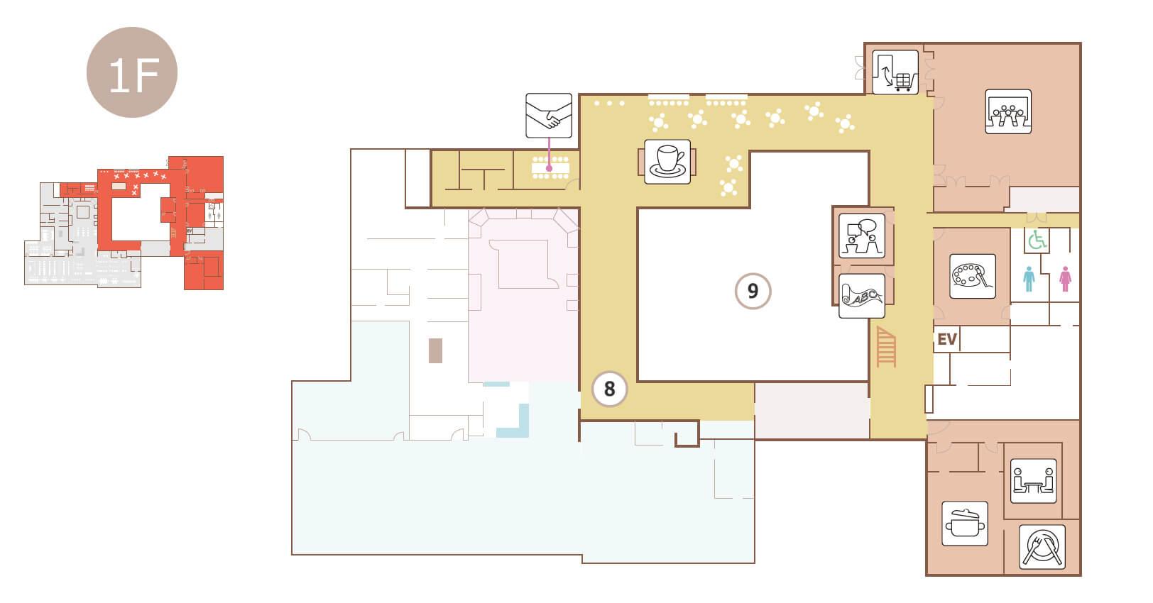 生涯学習センター1階のフロアマップ