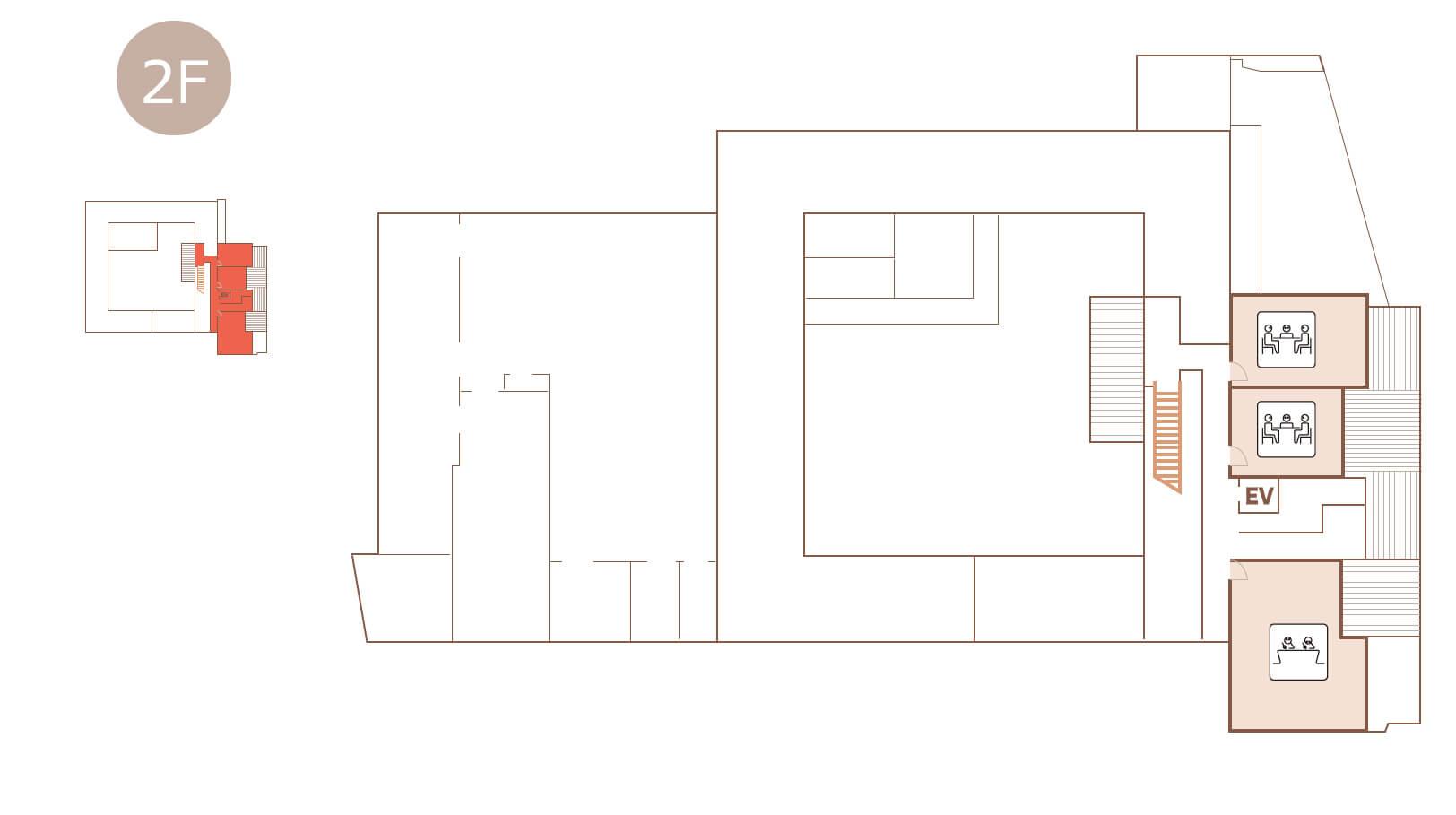 生涯学習センター2階のフロアマップ