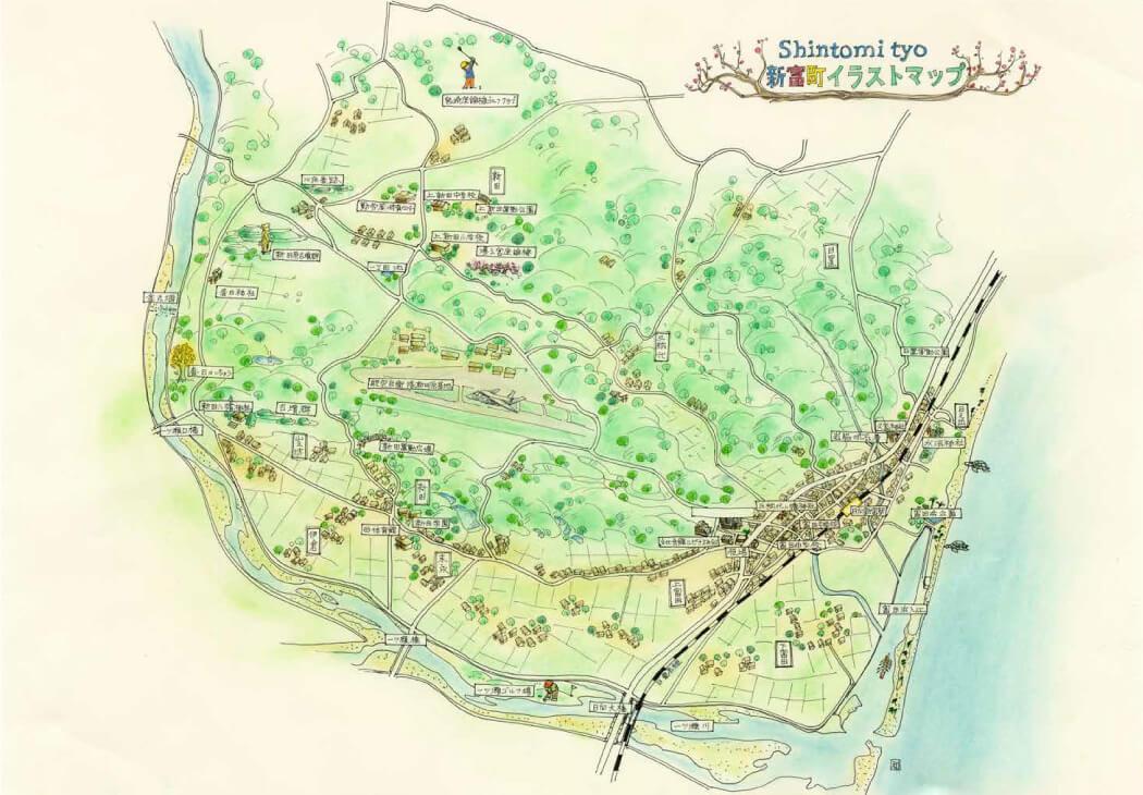 新富町イラストマップ